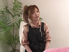 Huge creampie for a microscopic Japanese amateur at her workplace