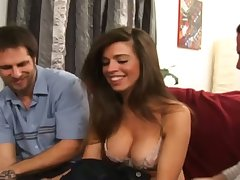Spoiled hottie with racy boobies Gabriela Rossi provides two dicks with nice heads