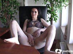 Lonely babe at one's disposal the office decides to masturbate