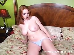 After she masturbates with fingers she is ready at length fuck